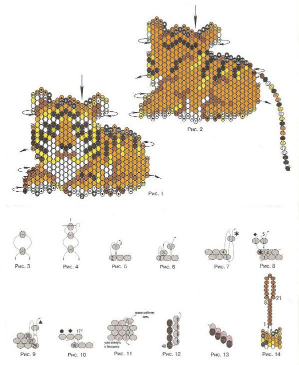 Брелок тигра из бисера схема